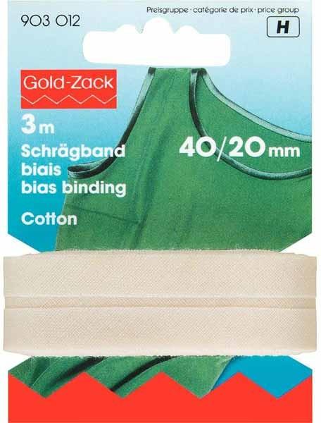 Schrägband, Baumwolle, 40/20mm, rohweiß, 3m