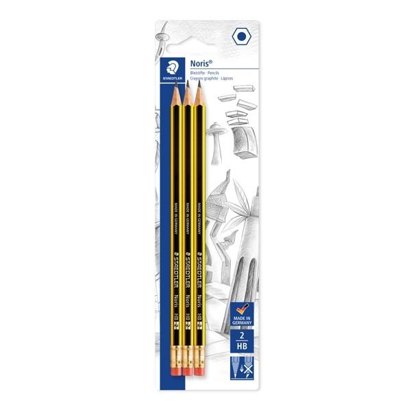 Noris HB-2 Bleistifte mit Radierer im 3er Set