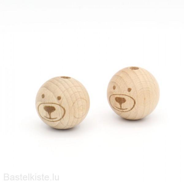 Holzperlen Bär Ø 24 mm NATUR