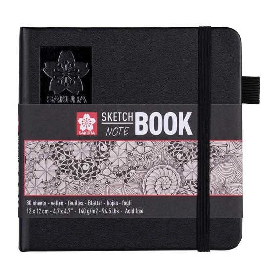 Sakura SKETCH BOOK 12x12 cm Schwarz mit 80 Blätter in Cremeweiß, 140g/m² Quadratisch