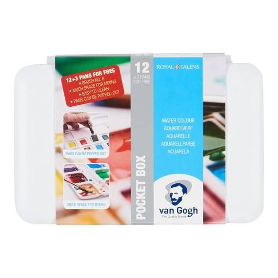 Aquarellfarben Set van Gogh Pocket Box 12er Basic-Farben