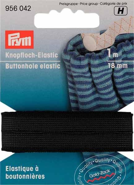 PRYM Knopfloch-Elastic Band, 18mm, schwarz, 1m