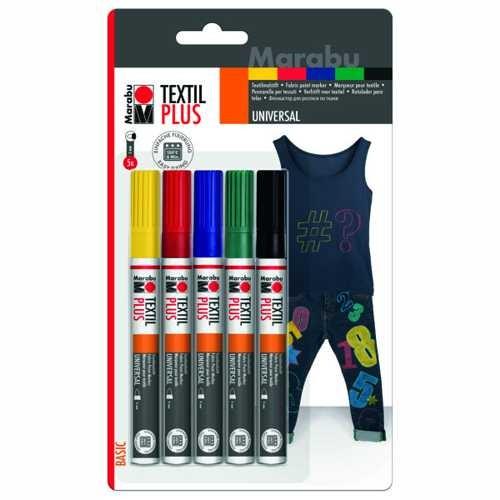 Textil painter, Textilstifte Plus Sortiment mit 5 Stiften