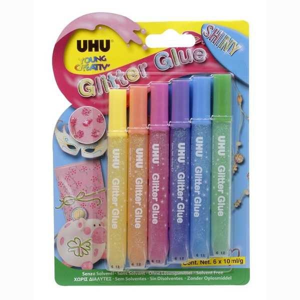 UHU Glitter Glue Shiny Blister 6x 10ml- ohne Lösungsmittel -