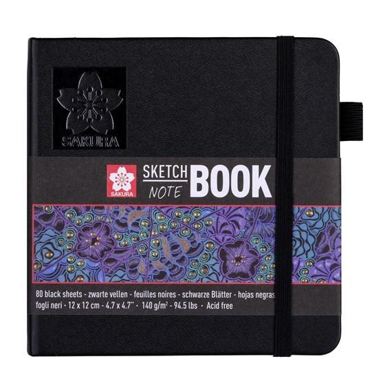 Sakura SKETCH BOOK 12x12 cm Schwarz mit 80 Blätter in Schwarz, 140g/m² Quadratisch