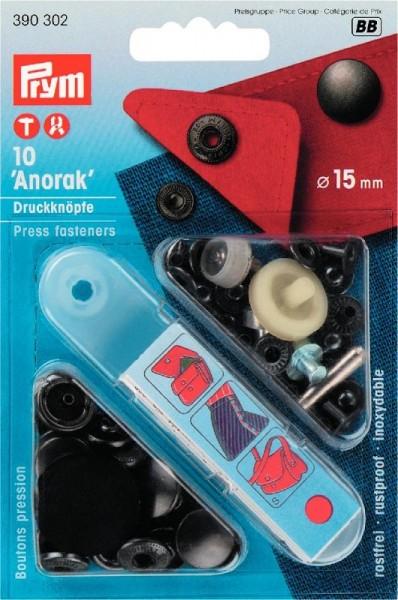 PRYM 390302 Nähfrei-Druckknopf Anorak, 15mm, brüniert