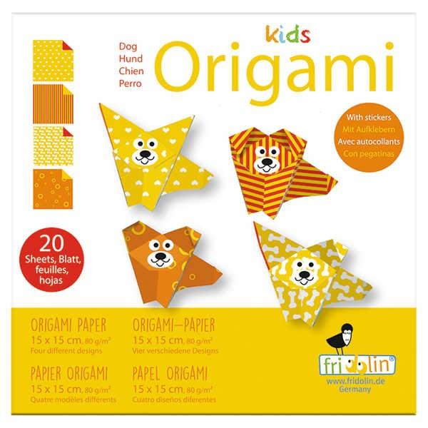 "Origami Faltblätter 80g/m² 15x15cm - 20 Blatt ""Hund"""