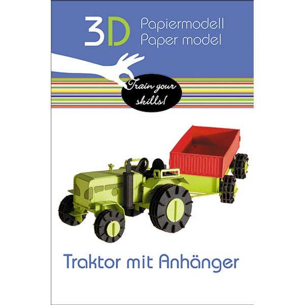 """3D Papiermodell """"Traktor + Anhänger"""" zum zusammenbauen"""
