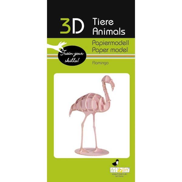"3D Papiermodell ""Flamingo"" zum zusammenbauen"