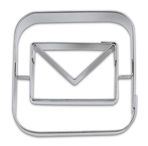 Präge-Ausstechform Email App 5 cm aus Edelstahl