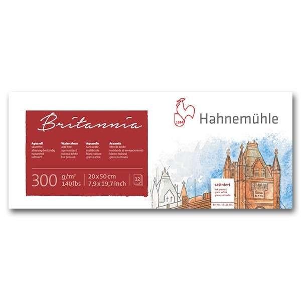 Hahnemühle Britannia Aquarellblock 300g/m², 20x50cm, 12 Blatt satiniert
