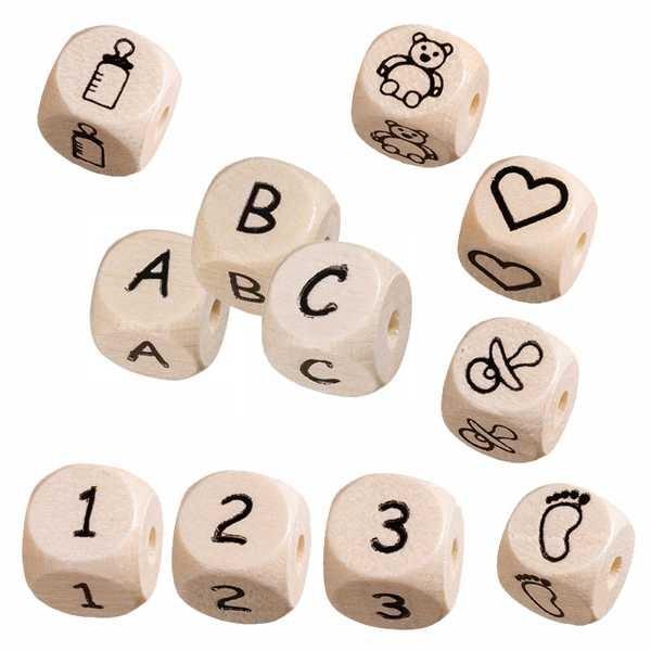 Buchstabenwürfel, Zahlen- & Motivwürfel für Schnullerketten