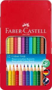 Colour Grip, 12er Set im Metalletui - Wasservermalbare Buntstifte