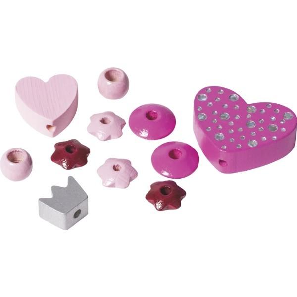 Holzperlen Mix Herz für Schnullerkette
