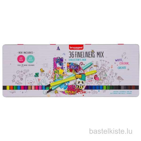 Fineliner Set mit 36 Farben in Blechdose