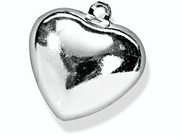 Metallglöckchen, Herz Silber / 5 Stück