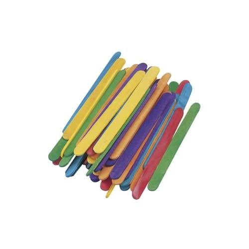 Holzstiele, Eisstiele, Bastelhölzer 110x11 mm farbig, 72 Stk.