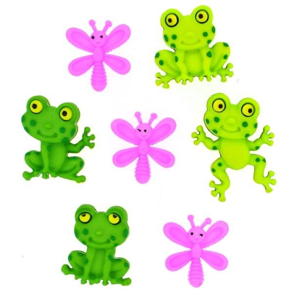 Dress it up Knöpfe, Happy Frogs, Fröhliche Frösche