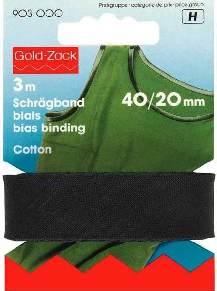 Schrägband, Baumwolle, 40/20mm, schwarz, 3m