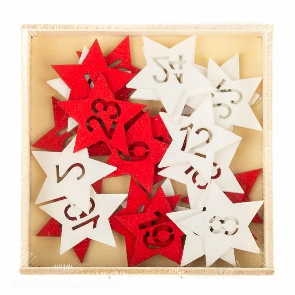 Adventskalenderzahlen rot - weiß aus Holz