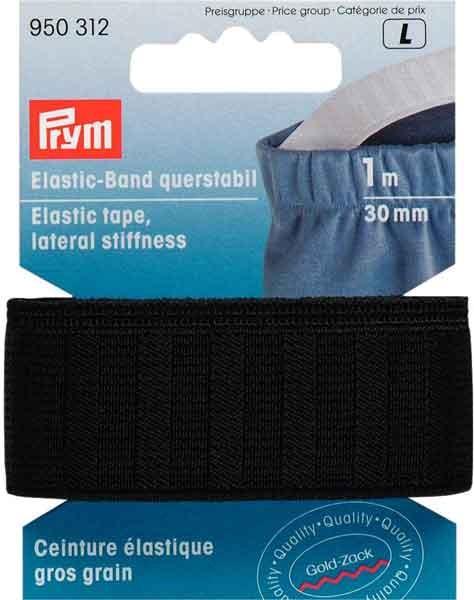PRYM Elastic Band,querstabil, 30mm. schwarz, 1m