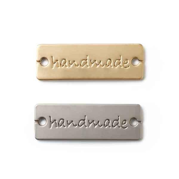 """Pins """"handmade"""" zum Annähen, silber & gold"""
