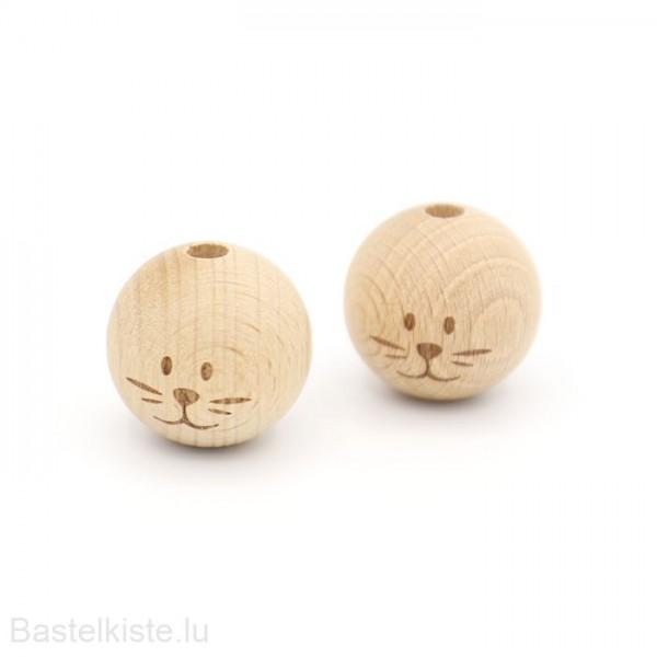 Holzperlen Katze Ø 24 mm NATUR