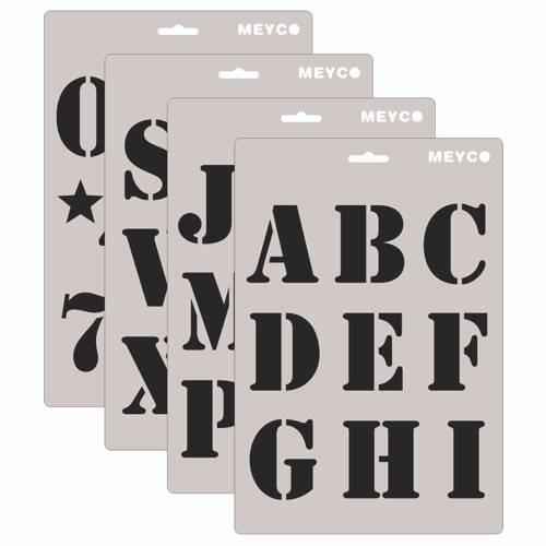 """Buchstaben & Zahlen Schablone """"ABC"""", 60 mm 4-tlg."""