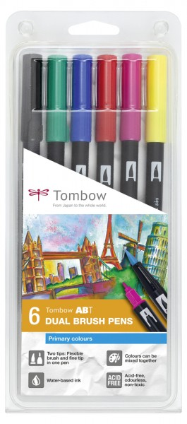 ABT DUAL BRUSH PENS 6er Set Primary Colours