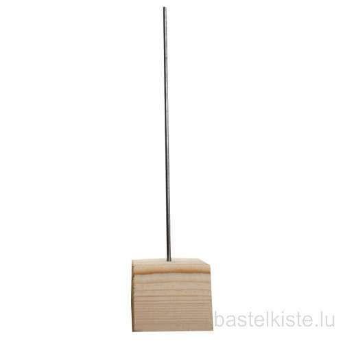 Holzständer, Holzsockel mit Metallstab für Skulptur 300mm