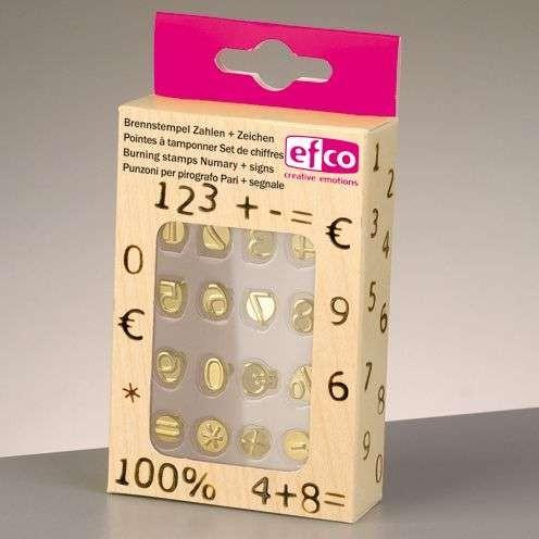 Brennstempel Zahlen + Zeichen 16-teilig