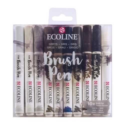ECOLINE Brush Pen 10er Set, GRAUTÖNE