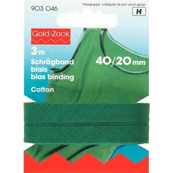 Schrägband, Baumwolle, 40/20mm, Tannengrün, 3m