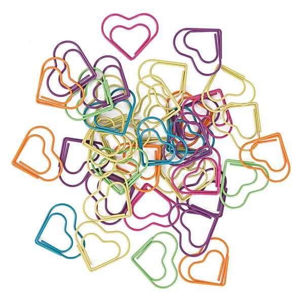 Büroklammern Herzform 30 Stück, bunt