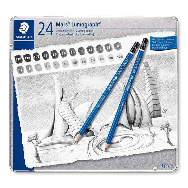 Mars Lumograph Bleistifte 24er Set von 12B - 10H