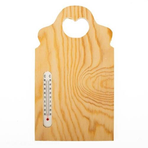 Holzbrettchen mit Thermometer 24 x 14 cm