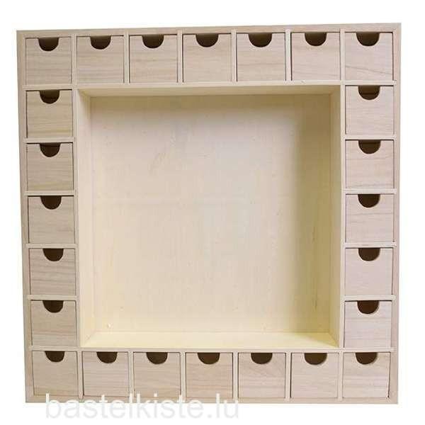 Adventskalender aus Holz mit 24 Schubladen