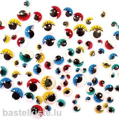 Wackelaugen mit Wimpern gemischt Farbig, 100 Stück