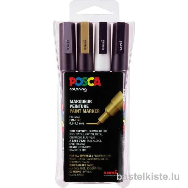 POSCA Paint Marker Set PC-3M FINE 0,9 - 1,3mm, 4 Stifte
