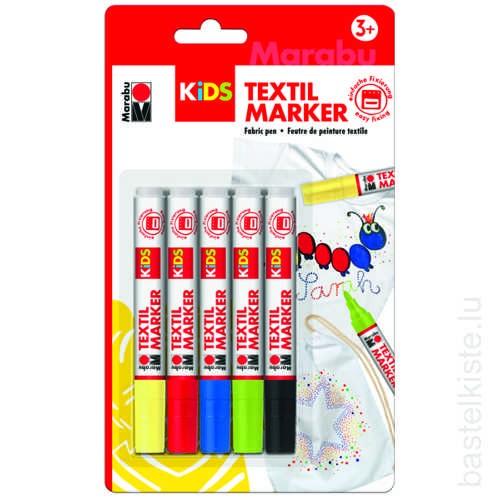 KIDS Textil Marker, Textilstifte 5er Set