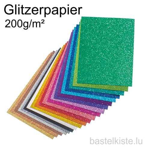Glitterkarton, Glitterpapier A4 / 21 x 29,7 cm 200g/m²