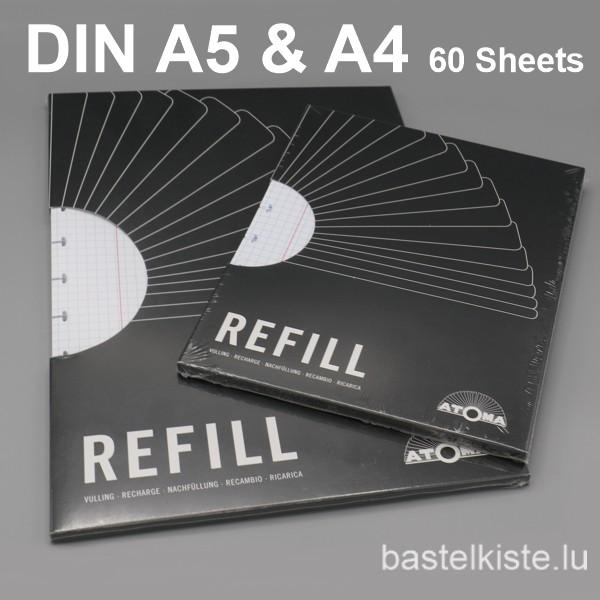 ATOMA REFILL kariert DIN A4 mit Rand für Ring-Hefte