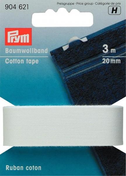 Baumwollband, 20mm, weiß, PRYM, 904621