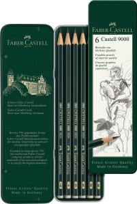 Castell 9000 Bleistifte 6er Set, HB bis 8B