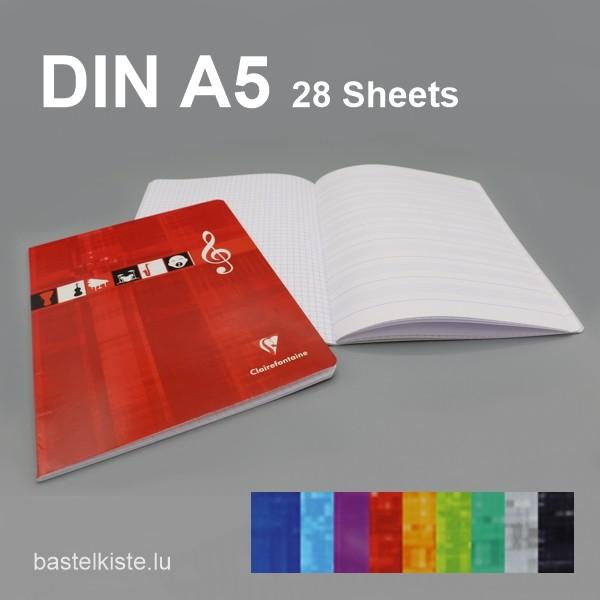 Musikheft mit Notenlinien & kariert DIN A5, in verschiedenen Farben