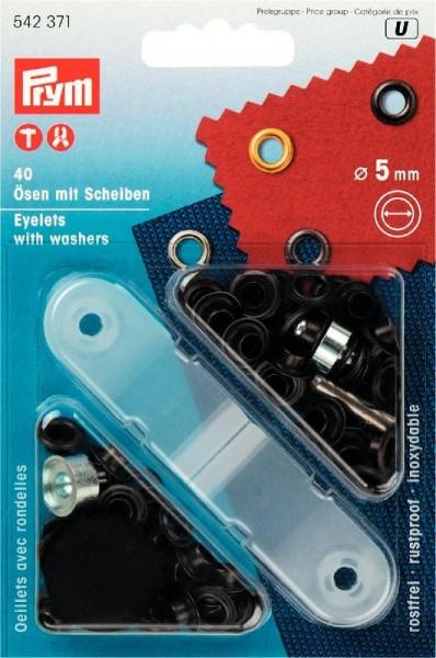 PRYM 542371 NF-Ösen+Scheiben MS 5mm brüniert 40St