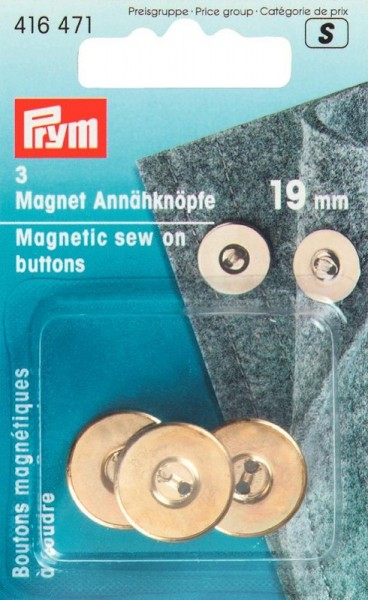 Magnet Annähknöpfe 19mm goldfarbig PRYM 416471
