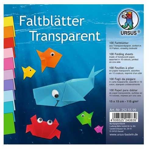 Origami Faltblätter transparent 115g/m² 15x15cm - 100 Blatt bunt