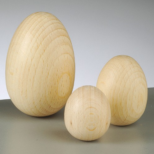 Holzei, Rohholz Ei in verschiedenen Größen