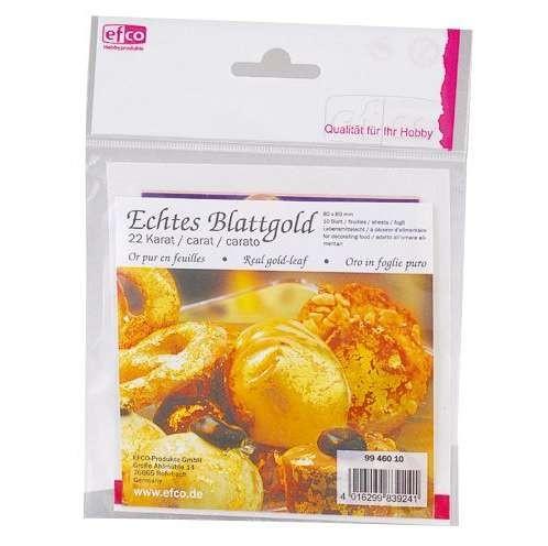 Echtes Blattgold 80 x 80 mm, 10 Blatt
